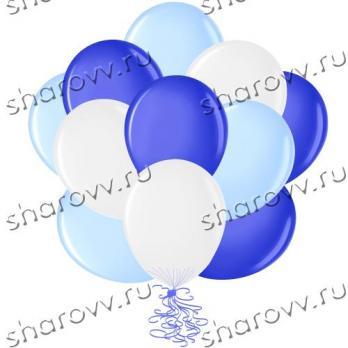 "Шары латекс 35см. ""Синий, белый, голубой"""