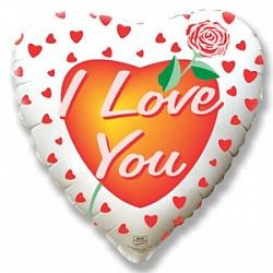 Шар сердце фольга Роза любви