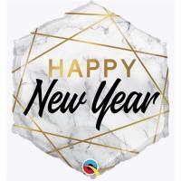 Шарик фольга HAPPY NEW YEAR Мрамор