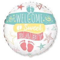"""Шар круг фольга WELCOME SWEET BABY"""""""