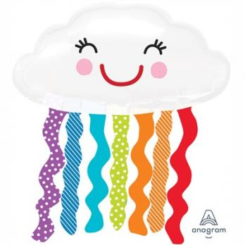 Шар фольга Облако с дождиком улыбчивое