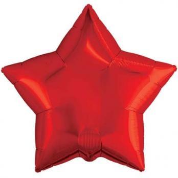 Шар звезда 76см. Металлик Красный