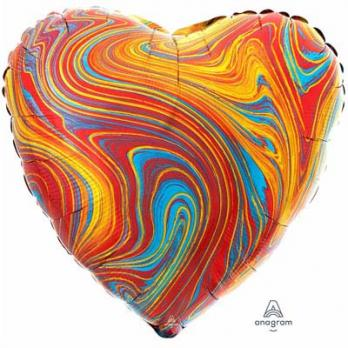Шар сердце Мрамор Красочный