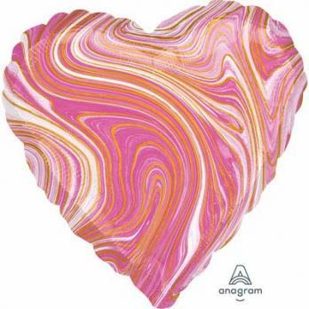 Шар сердце Мрамор Розовый