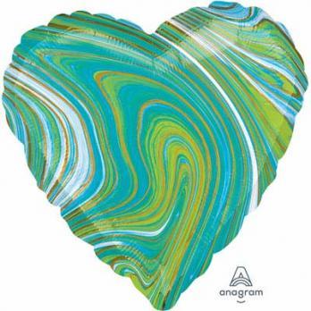Шарик сердце Мрамор Сине-зеленый