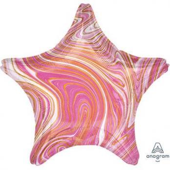 Шар звезда Мрамор Розовый