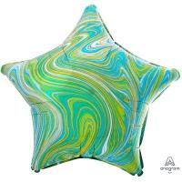 Шарик звезда Мрамор Сине-зеленый