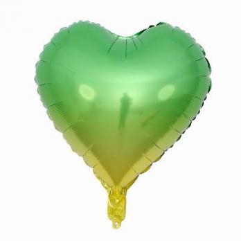 Шар сердце Омбре Зелено-желтый