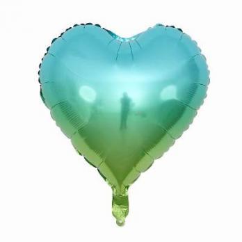 Шар сердце Омбре Сине-зеленый
