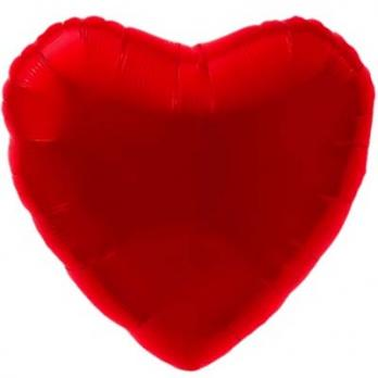 Шар сердце 76см. Металлик Красный