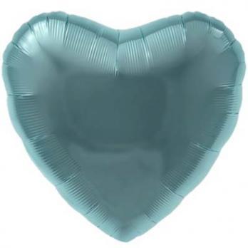 "Шарик сердце 76см. Металлик Зеленый"""
