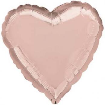 "Шар сердце 76см. ""Металлик Розовое золото"""