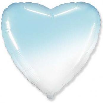 "Шарик сердце 81см. Градиент голубой"""