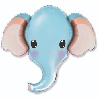 Шар фольга Голова слона голубая