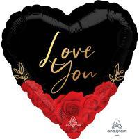 Шар сердце фольга Розы красные на черном