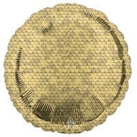 Шарик круг фольга Пайетки золото