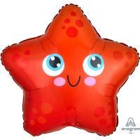 Шар фольга Звезда морская красная