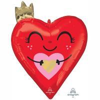 Шар фольга Сердце красное с короной