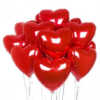 15 шариков сердец фольга