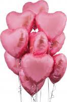 10 розовых сердец фольга