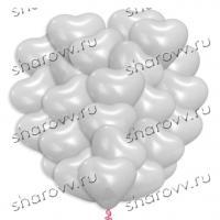 30 шариков сердец латекс белые 40см.