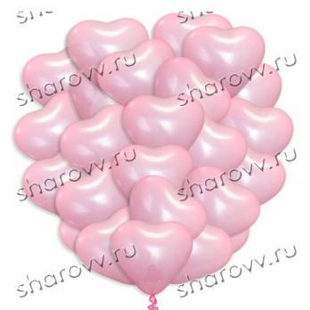 30 шаров сердец латекс розовые 40см.