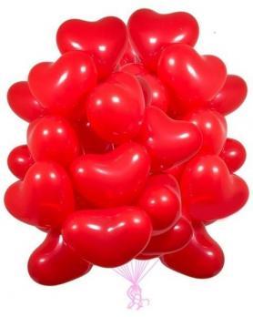 50 шаров сердец латекс 40см. красные