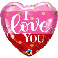 Шар фольга ILY Сердце розово-красное полосы