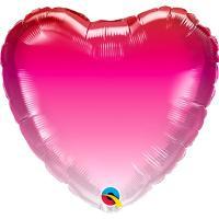 Шар сердце фольга Омбре красно-розов