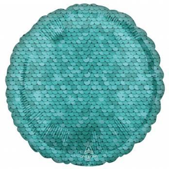 Шарик круг фольга Пайетки Ocean Blue