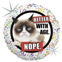 Шар круг фольга Сердитая кошка