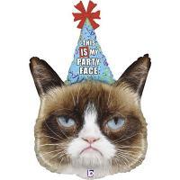 Шар фольга Сердитая кошка в колпаке