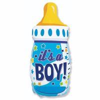 "Шар фольга ""Бутылка IT'S A BOY голубая"""