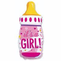 "Шарик фольга ""Бутылка IT'S A GIRL розовая"""