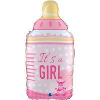 "Шар фигура ""IT'S A GIRL Бутылка розовая"""