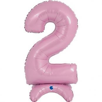 Цифра 2 Розовая на подставке