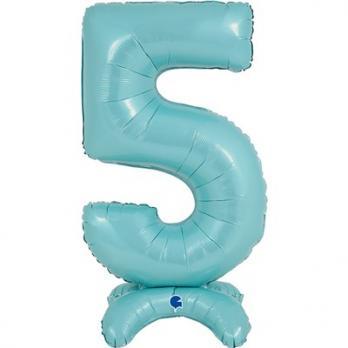 Цифра 5 Голубая на подставке