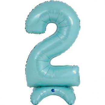 Цифра 2 Голубая на подставке