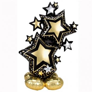 Шар фигура Звезды черно-золотые