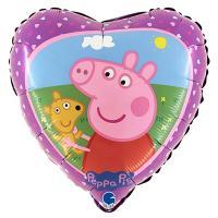 "Шар сердце ""Свинка Пеппа с мишкой"""