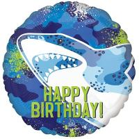 """Шар круг """"Happy Birthday Акула"""""""