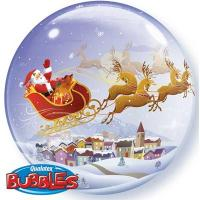 "Шар BUBBLE ""Санта на санях"""