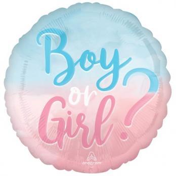 """Шар круг """"Мальчик или девочка розово-голубой"""""""