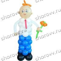 """Фигура из шариков """"Школьник с цветком"""""""