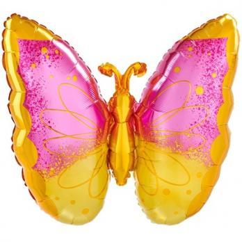 "Шар фигура ""Бабочка розово-желтая"""