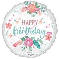 """Шар круг """"Happy Birthday цветы"""""""