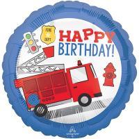 """Шар круг """"Happy Birthday Пожарный"""""""